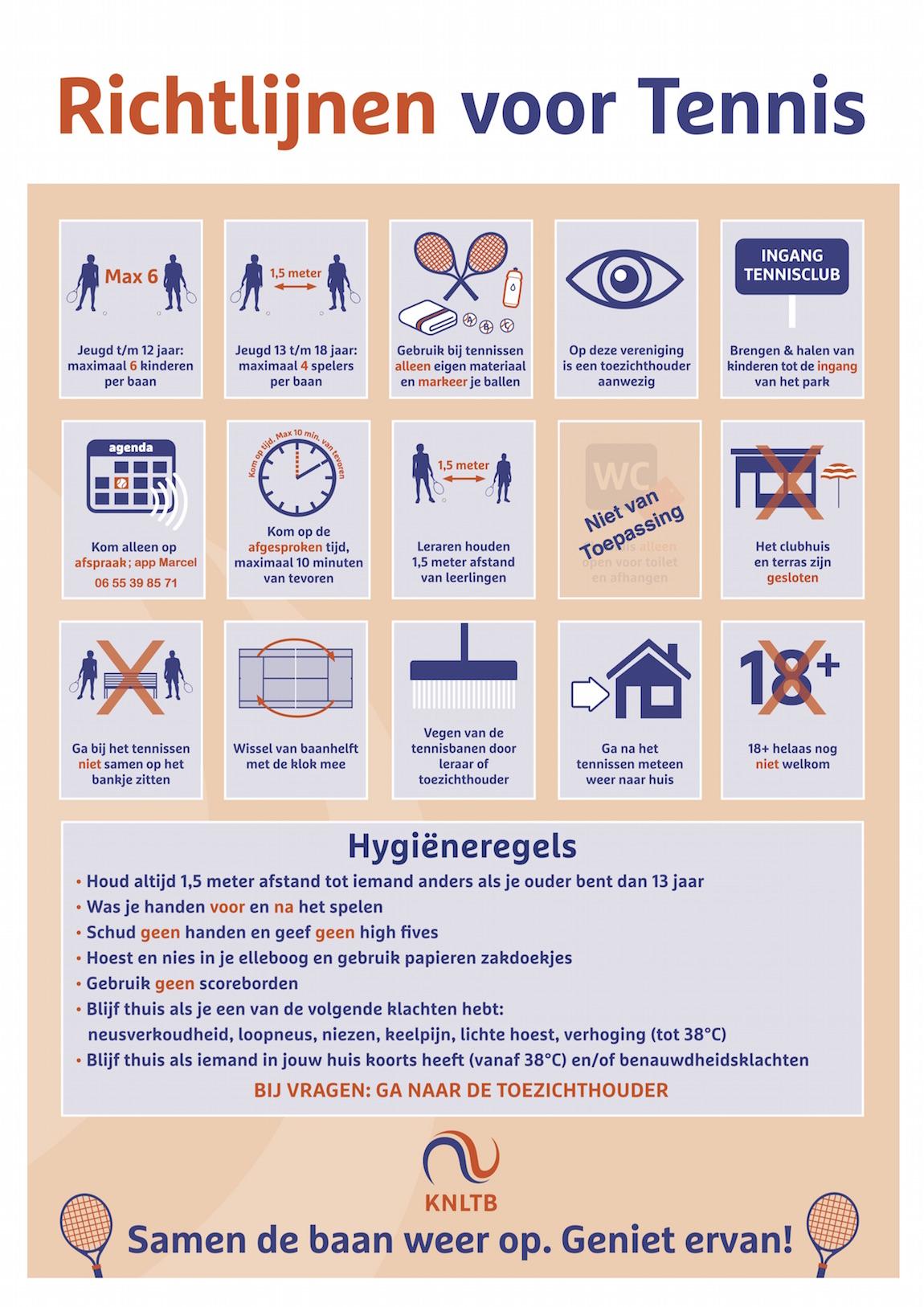 Richtlijnen voor Tennis (Coronamaatregelen)